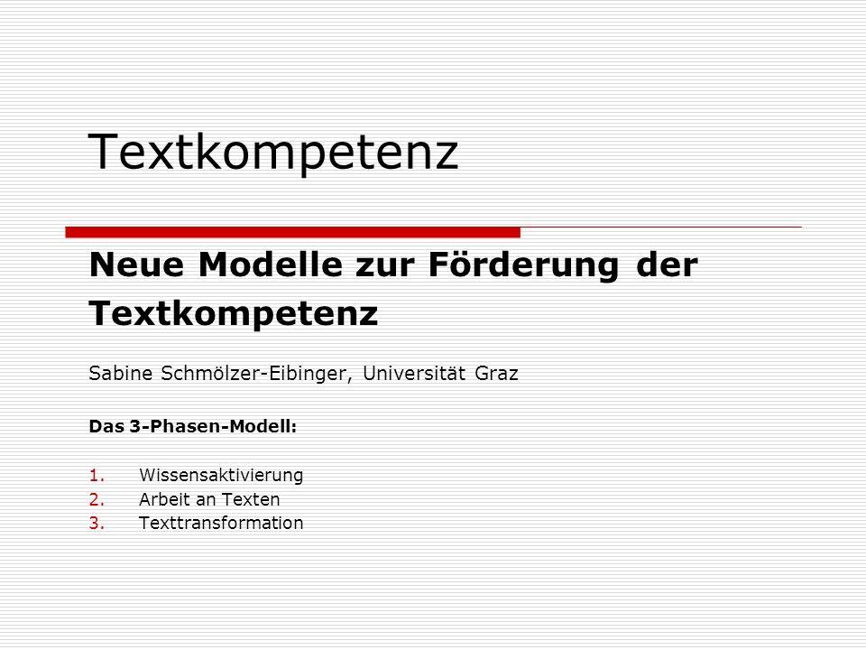 Textkompetenz Neue Modelle zur Förderung der Textkompetenz Sabine Schmölzer-Eibinger, Universität Graz Das 3-Phasen-Modell: 1.Wissensaktivierung 2.Arb