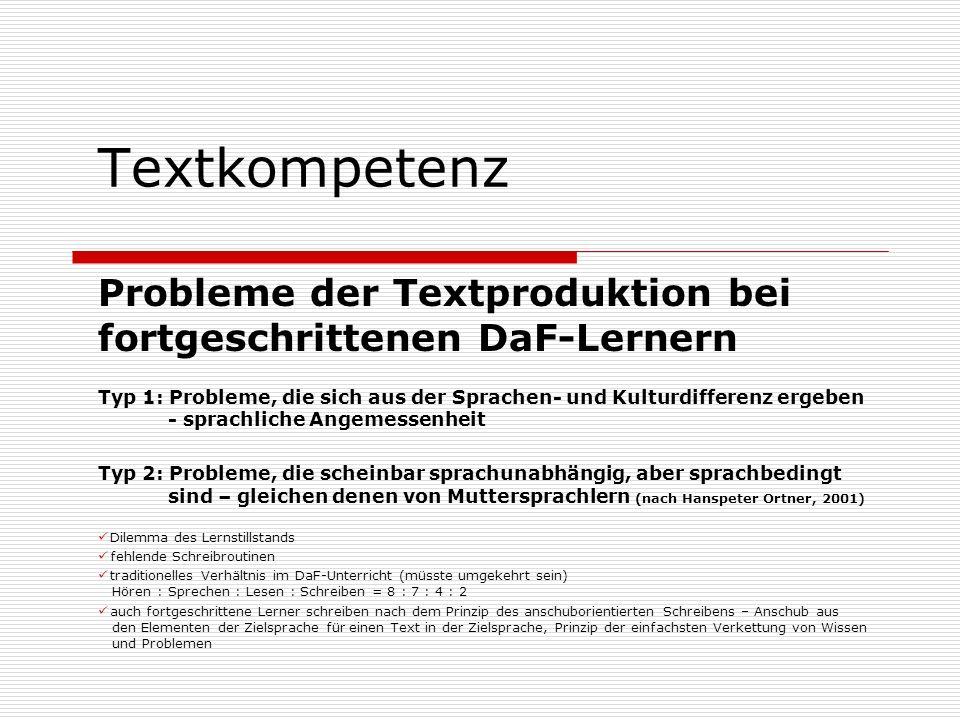 Textkompetenz Probleme der Textproduktion bei fortgeschrittenen DaF-Lernern Typ 1: Probleme, die sich aus der Sprachen- und Kulturdifferenz ergeben -