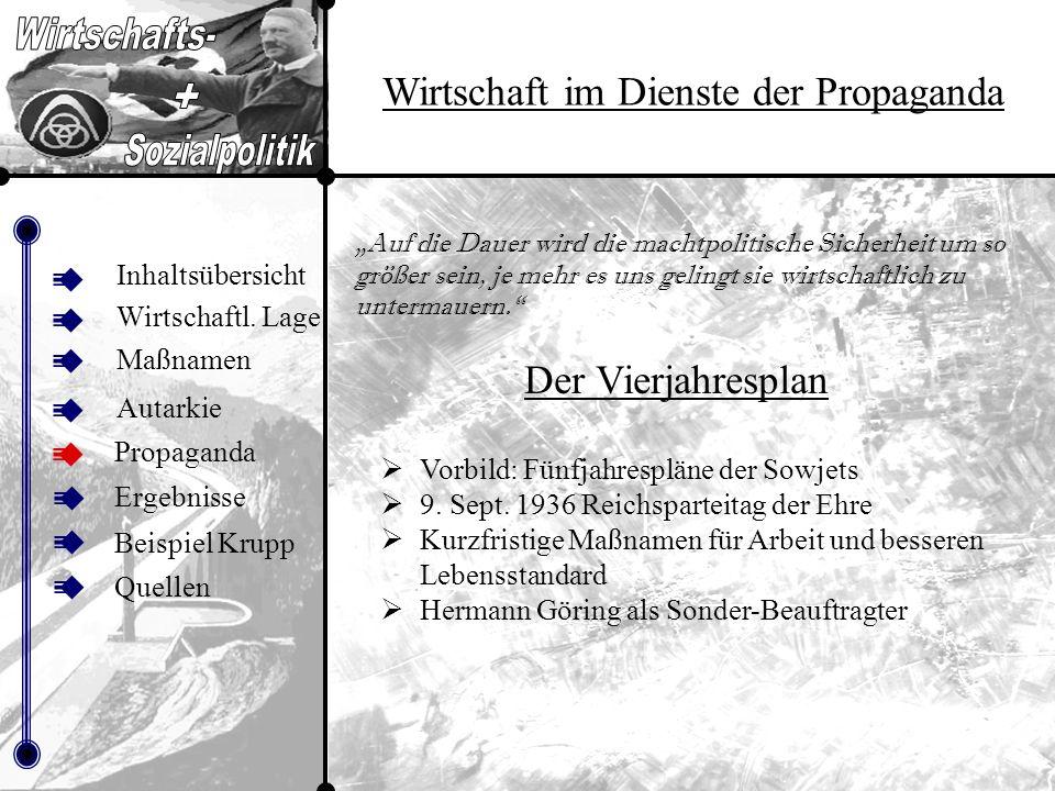 Inhalt sübers icht Wirtschaft im Dienste der Propaganda Inhaltsübersicht Maßnamen Autarkie Propaganda Beispiel Krupp Ergebnisse Quellen Wirtschaftl.