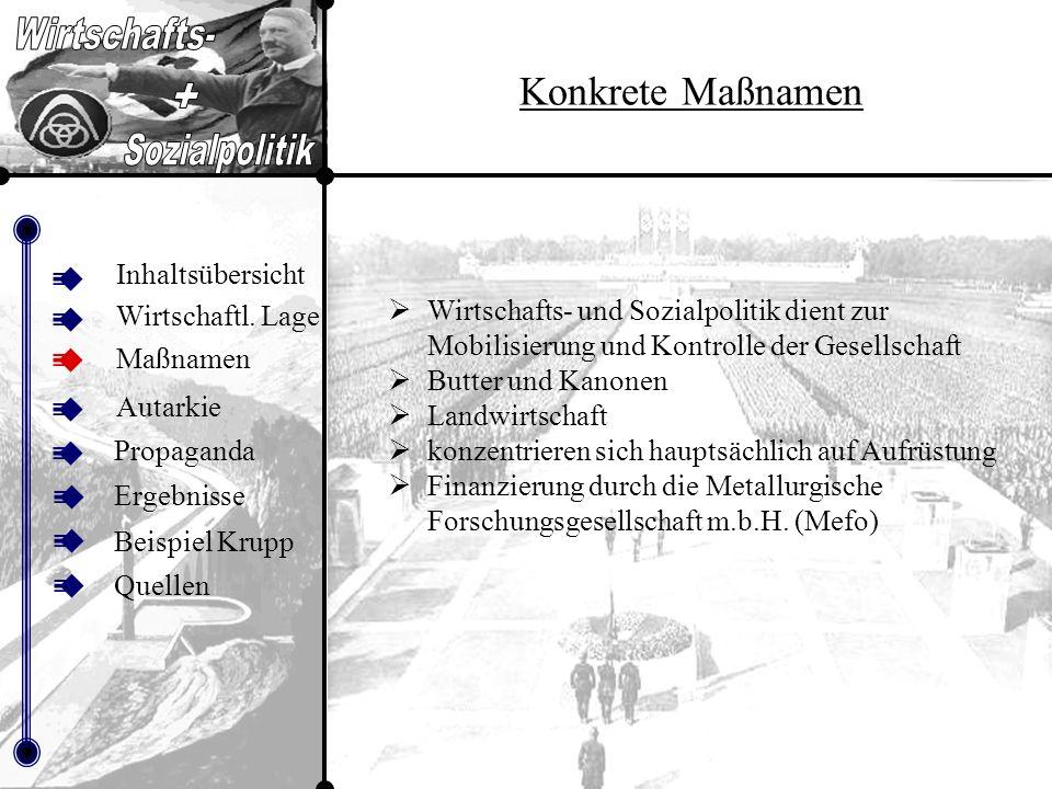Inhalt sübers icht Quellen Inhaltsübersicht Maßnamen Autarkie Propaganda Beispiel Krupp Ergebnisse Quellen Wirtschaftl.