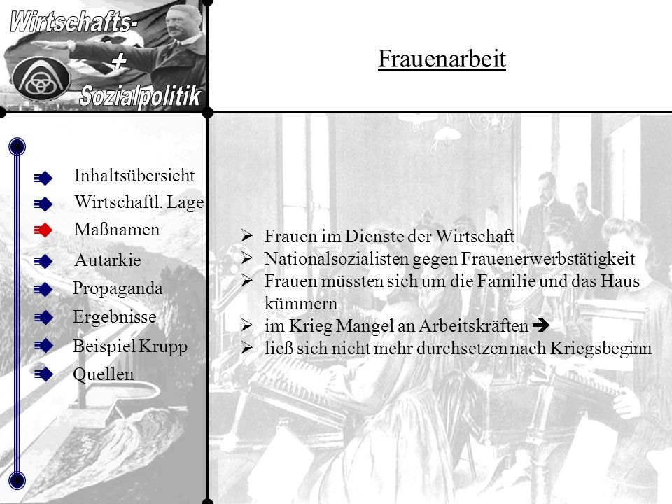 Inhalt sübers icht Frauenarbeit Inhaltsübersicht Maßnamen Autarkie Propaganda Beispiel Krupp Ergebnisse Quellen Wirtschaftl.