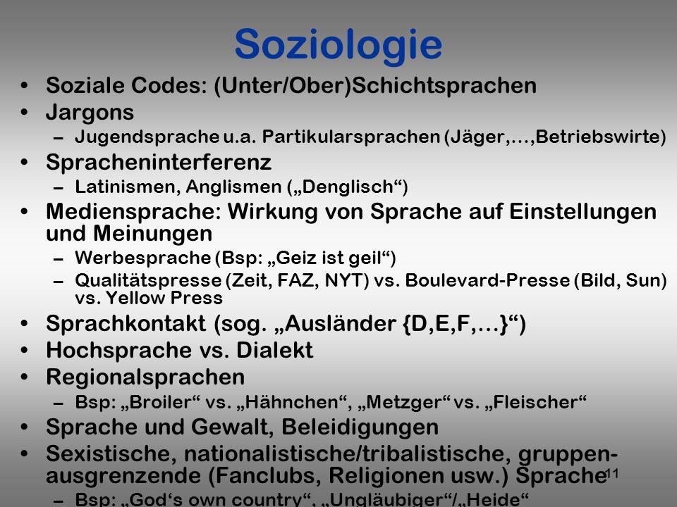 11 Soziologie Soziale Codes: (Unter/Ober)Schichtsprachen Jargons –Jugendsprache u.a. Partikularsprachen (Jäger,…,Betriebswirte) Spracheninterferenz –L
