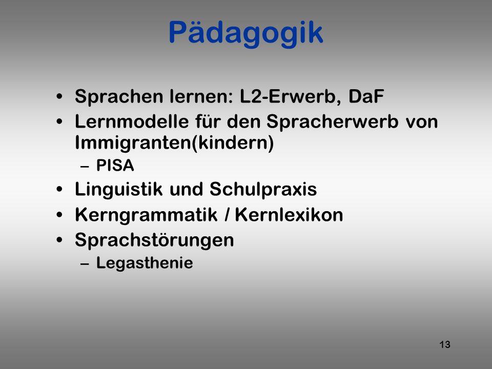13 Pädagogik Sprachen lernen: L2-Erwerb, DaF Lernmodelle für den Spracherwerb von Immigranten(kindern) –PISA Linguistik und Schulpraxis Kerngrammatik