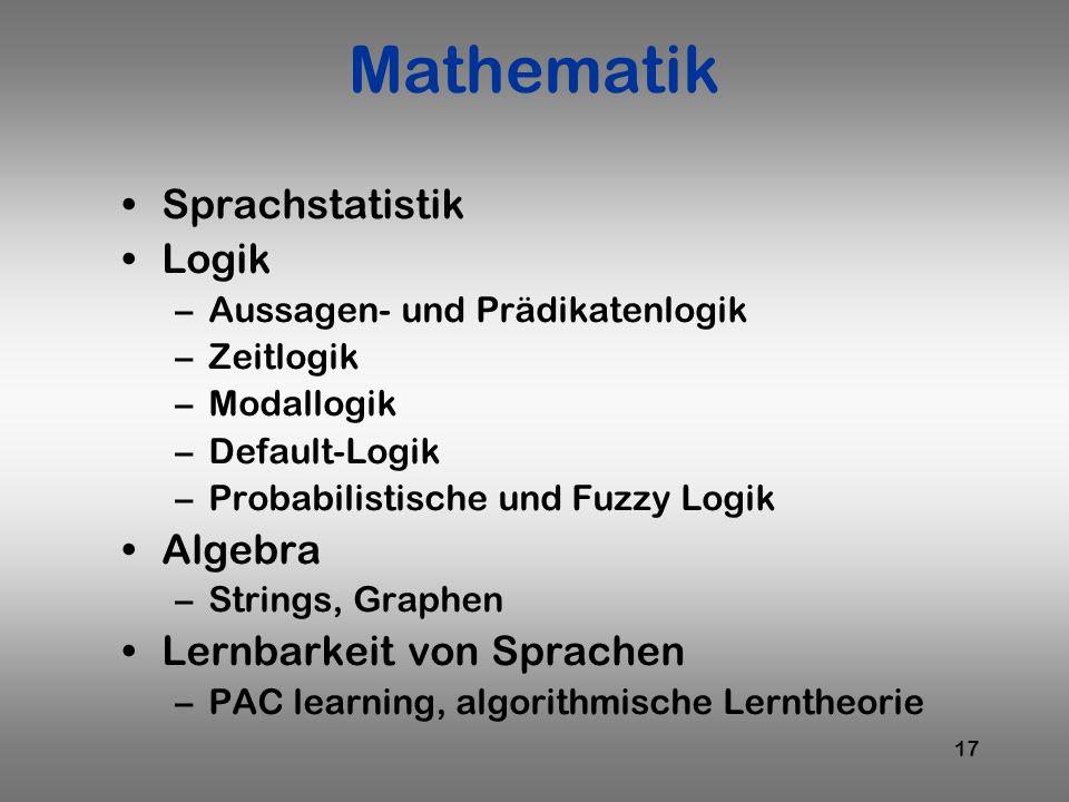 17 Mathematik Sprachstatistik Logik –Aussagen- und Prädikatenlogik –Zeitlogik –Modallogik –Default-Logik –Probabilistische und Fuzzy Logik Algebra –St