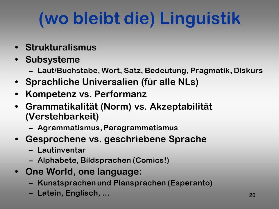 20 (wo bleibt die) Linguistik Strukturalismus Subsysteme –Laut/Buchstabe, Wort, Satz, Bedeutung, Pragmatik, Diskurs Sprachliche Universalien (für alle