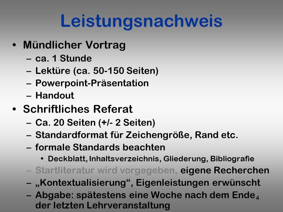 4 Leistungsnachweis Mündlicher Vortrag –ca. 1 Stunde –Lektüre (ca. 50-150 Seiten) –Powerpoint-Präsentation –Handout Schriftliches Referat –Ca. 20 Seit