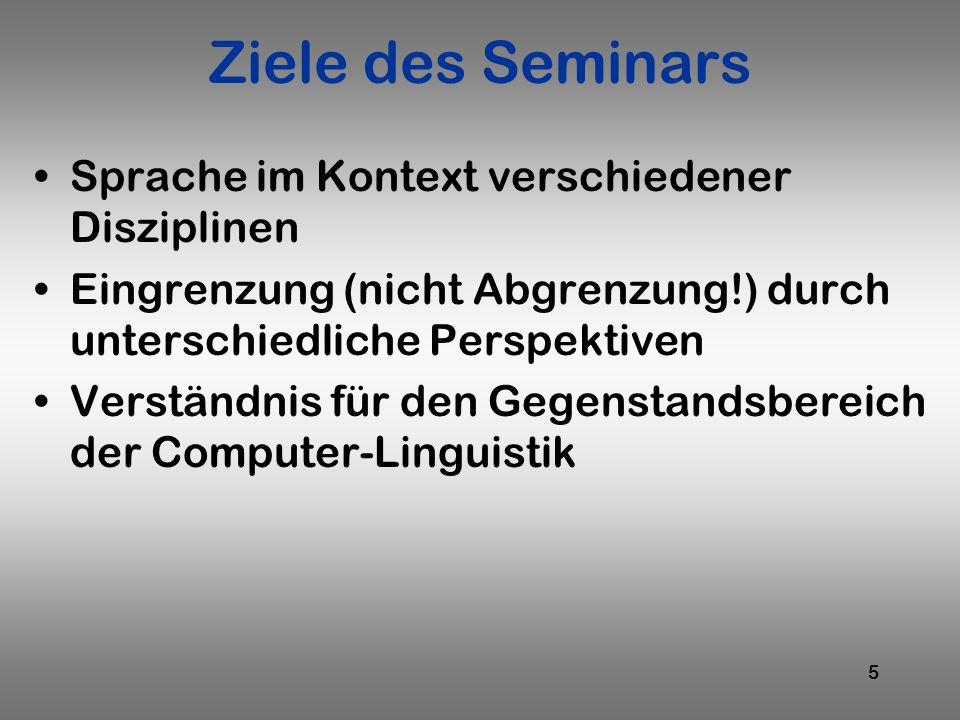 5 Ziele des Seminars Sprache im Kontext verschiedener Disziplinen Eingrenzung (nicht Abgrenzung!) durch unterschiedliche Perspektiven Verständnis für
