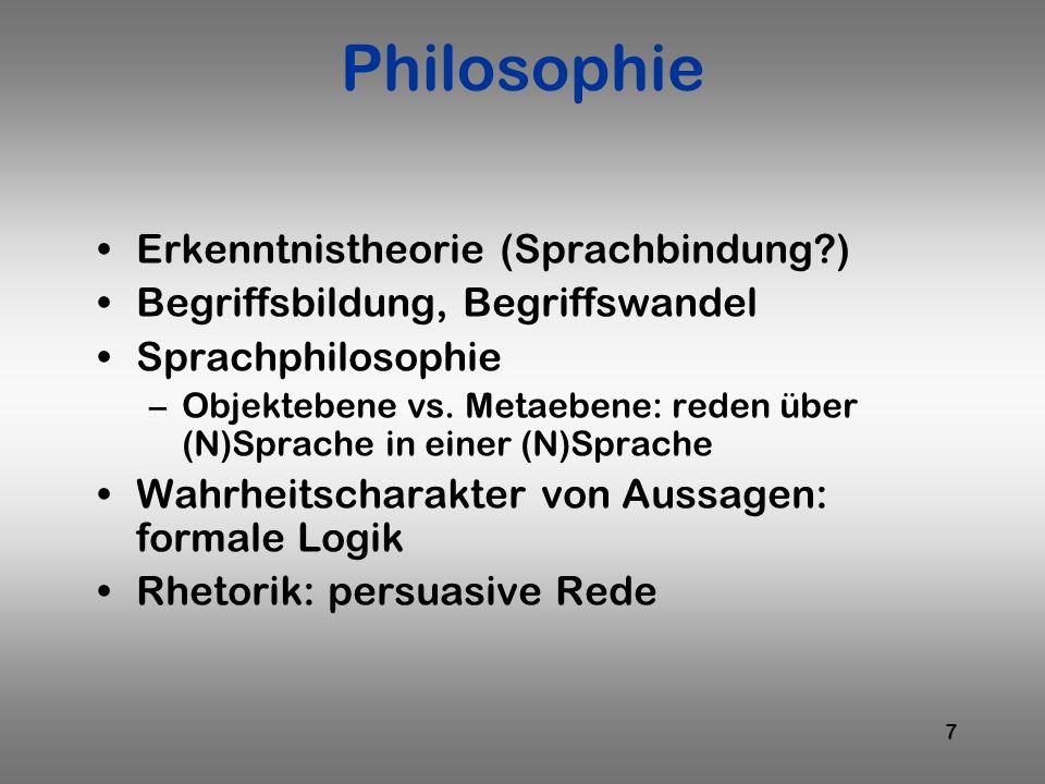 7 Philosophie Erkenntnistheorie (Sprachbindung?) Begriffsbildung, Begriffswandel Sprachphilosophie –Objektebene vs. Metaebene: reden über (N)Sprache i