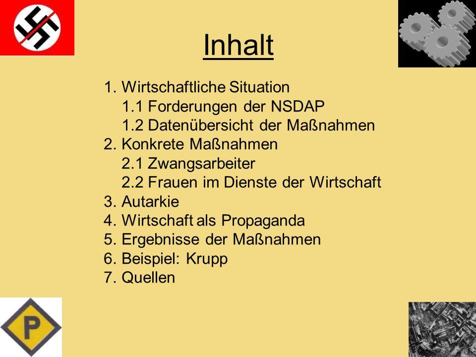 Inhalt 1.Wirtschaftliche Situation 1.1 Forderungen der NSDAP 1.2 Datenübersicht der Maßnahmen 2.Konkrete Maßnahmen 2.1 Zwangsarbeiter 2.2 Frauen im Di
