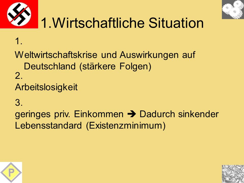 1.Wirtschaftliche Situation 1. Weltwirtschaftskrise und Auswirkungen auf Deutschland (stärkere Folgen) 2. Arbeitslosigkeit 3. geringes priv. Einkommen