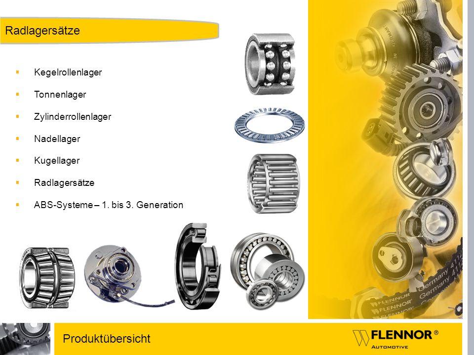 Kegelrollenlager Tonnenlager Zylinderrollenlager Nadellager Kugellager Radlagersätze ABS-Systeme – 1. bis 3. Generation Produktübersicht Radlagersätze
