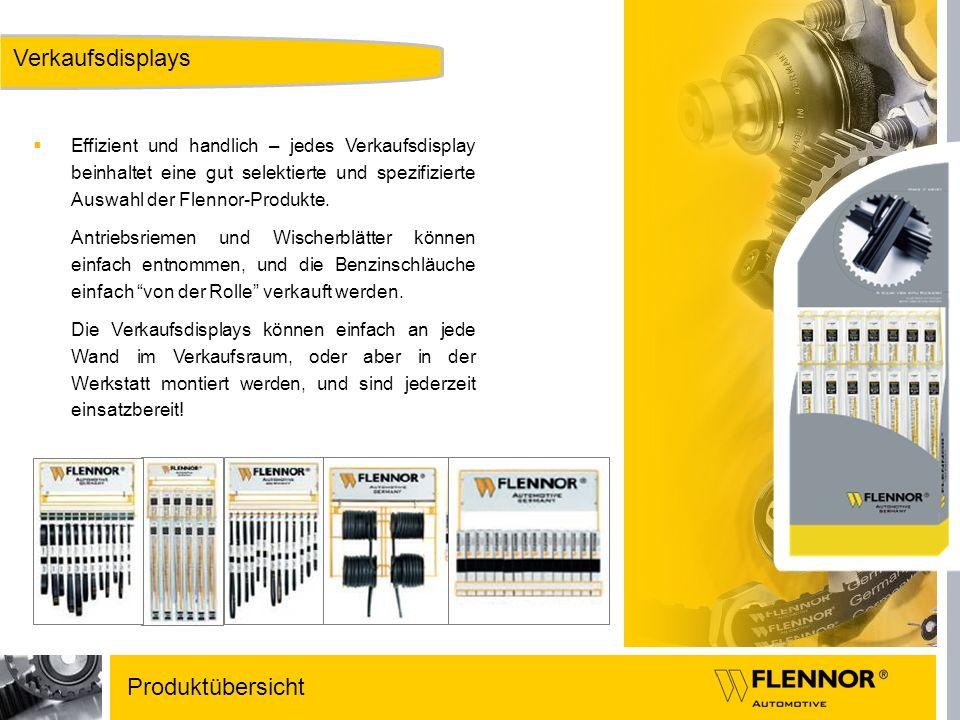 Verkaufsdisplays Effizient und handlich – jedes Verkaufsdisplay beinhaltet eine gut selektierte und spezifizierte Auswahl der Flennor-Produkte. Antrie