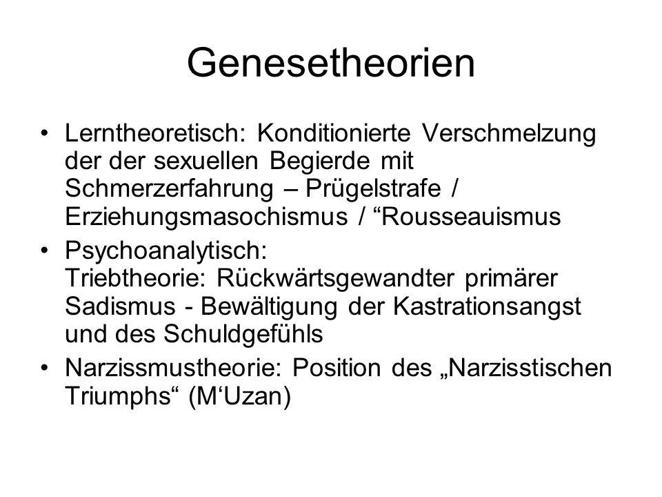 Genesetheorien Lerntheoretisch: Konditionierte Verschmelzung der der sexuellen Begierde mit Schmerzerfahrung – Prügelstrafe / Erziehungsmasochismus /