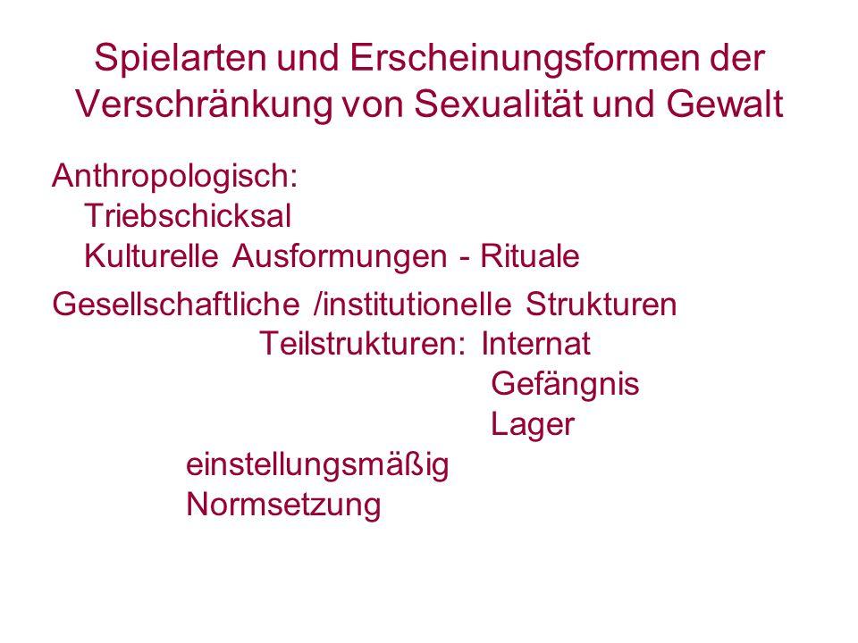 Spielarten und Erscheinungsformen der Verschränkung von Sexualität und Gewalt Anthropologisch: Triebschicksal Kulturelle Ausformungen - Rituale Gesell