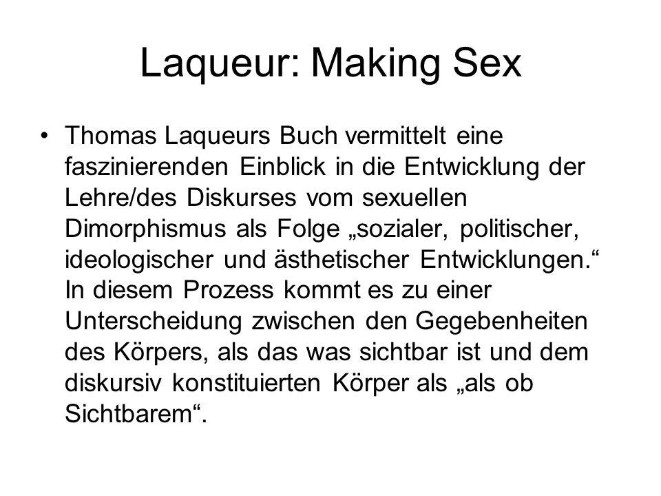 Laqueur: Making Sex Thomas Laqueurs Buch vermittelt eine faszinierenden Einblick in die Entwicklung der Lehre/des Diskurses vom sexuellen Dimorphismus