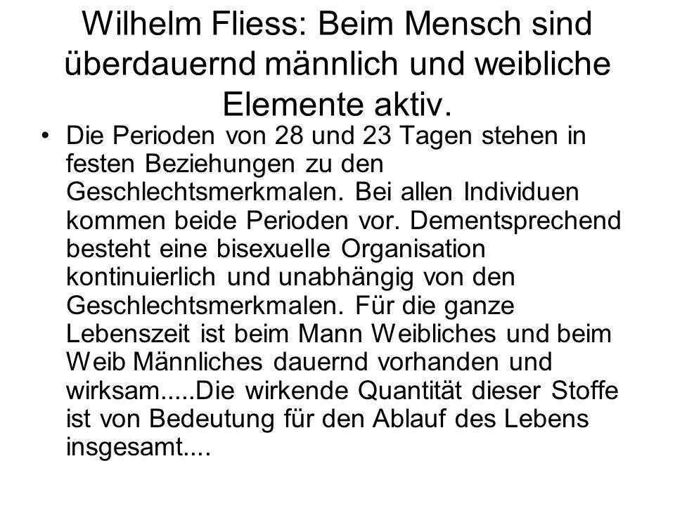 Wilhelm Fliess: Beim Mensch sind überdauernd männlich und weibliche Elemente aktiv. Die Perioden von 28 und 23 Tagen stehen in festen Beziehungen zu d