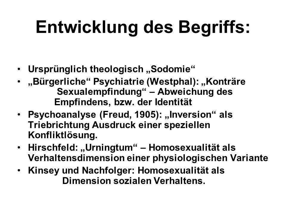Entwicklung des Begriffs: Ursprünglich theologisch Sodomie Bürgerliche Psychiatrie (Westphal): Konträre Sexualempfindung – Abweichung des Empfindens,