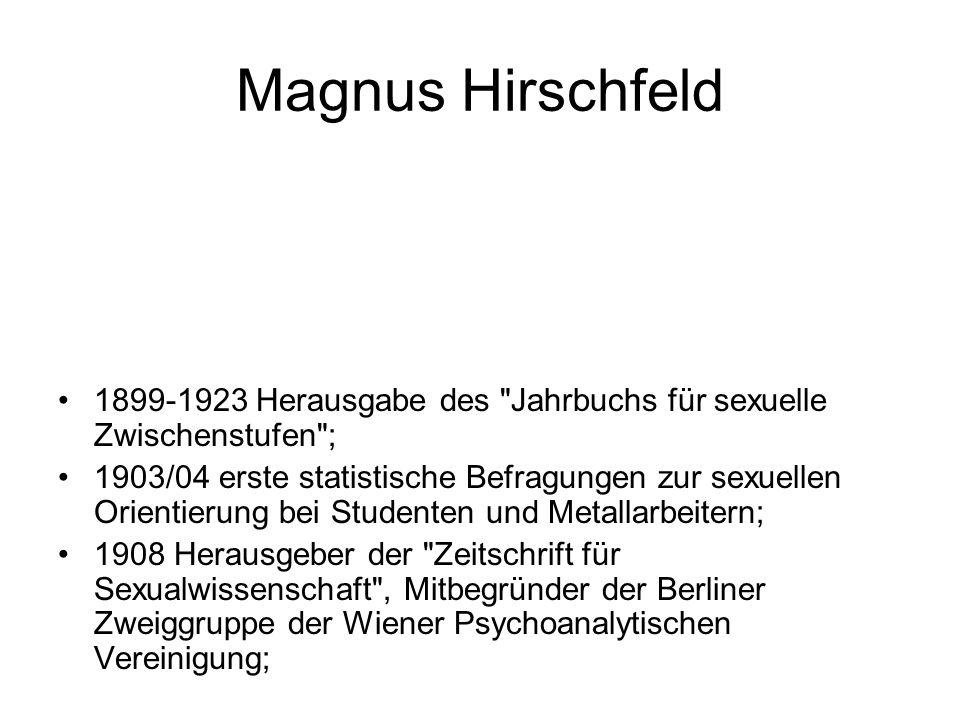 Magnus Hirschfeld 1899-1923 Herausgabe des