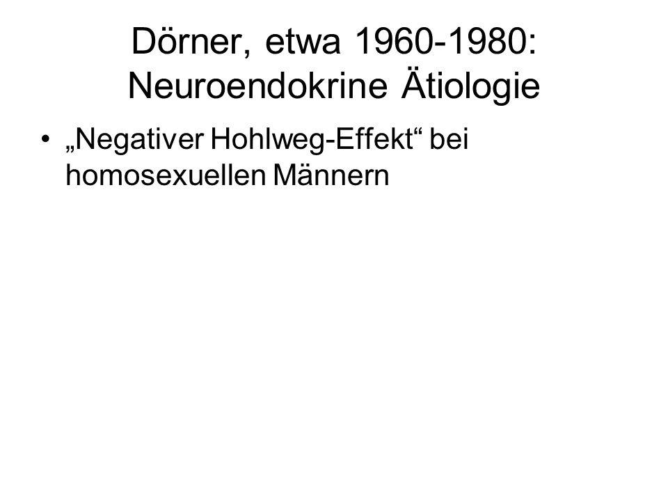 Dörner, etwa 1960-1980: Neuroendokrine Ätiologie Negativer Hohlweg-Effekt bei homosexuellen Männern