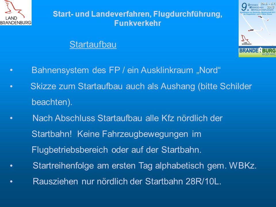 Start- und Landeverfahren, Flugdurchführung, Funkverkehr Startaufbau Bahnensystem des FP / ein Ausklinkraum Nord Skizze zum Startaufbau auch als Ausha