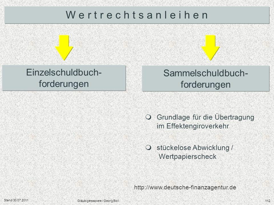 Stand 30.07.2011 Gläubigerpapiere / Georg Boll112 Einzelschuldbuch- forderungen Sammelschuldbuch- forderungen W e r t r e c h t s a n l e i h e n Grun