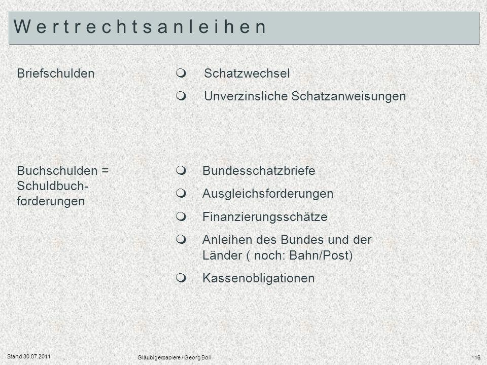 Stand 30.07.2011 Gläubigerpapiere / Georg Boll116 Briefschulden Buchschulden = Schuldbuch- forderungen Schatzwechsel Unverzinsliche Schatzanweisungen