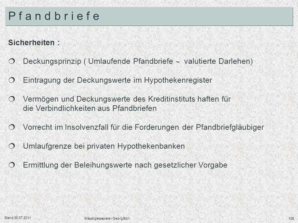 Stand 30.07.2011 Gläubigerpapiere / Georg Boll126 Sicherheiten : Deckungsprinzip ( Umlaufende Pfandbriefe valutierte Darlehen) Eintragung der Deckungs