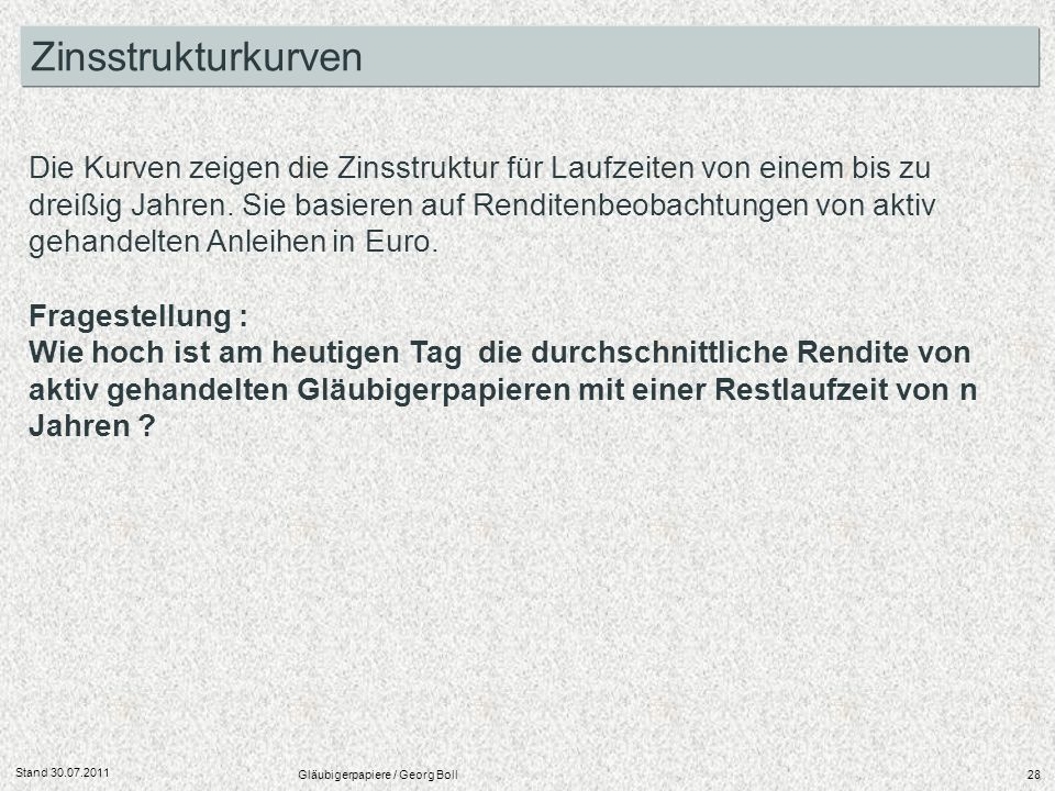 Stand 30.07.2011 Gläubigerpapiere / Georg Boll28 Zinsstrukturkurven Die Kurven zeigen die Zinsstruktur für Laufzeiten von einem bis zu dreißig Jahren.