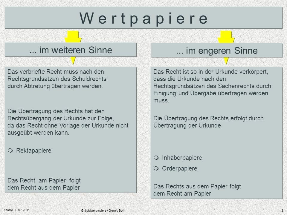 Stand 30.07.2011 Gläubigerpapiere / Georg Boll84 www.tagesanleihe.de