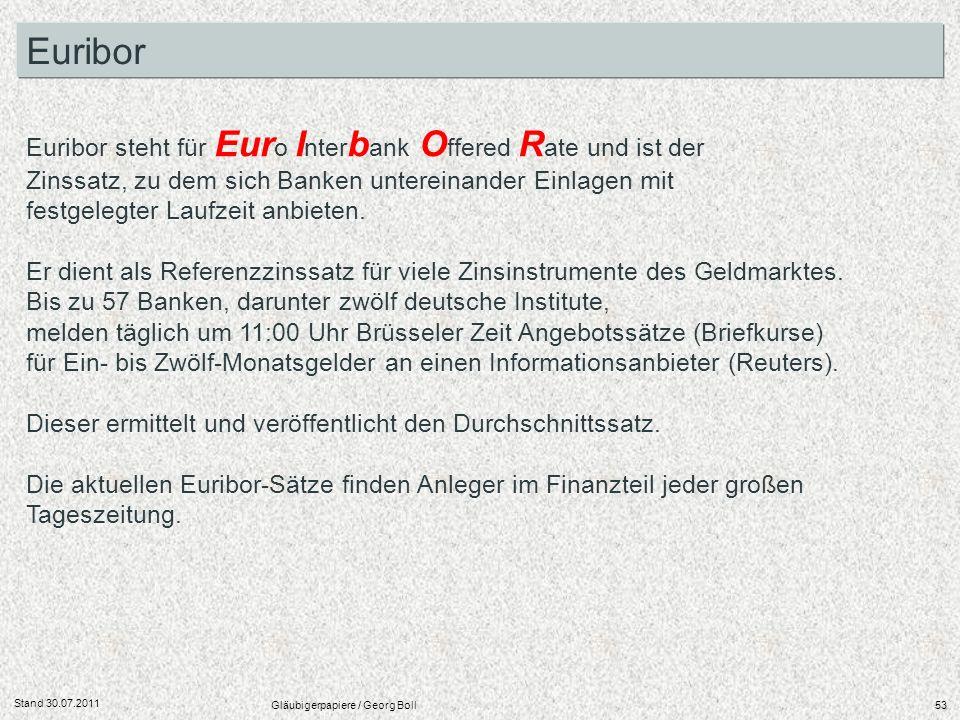 Stand 30.07.2011 Gläubigerpapiere / Georg Boll53 Euribor steht für Eur o I nter b ank O ffered R ate und ist der Zinssatz, zu dem sich Banken unterein