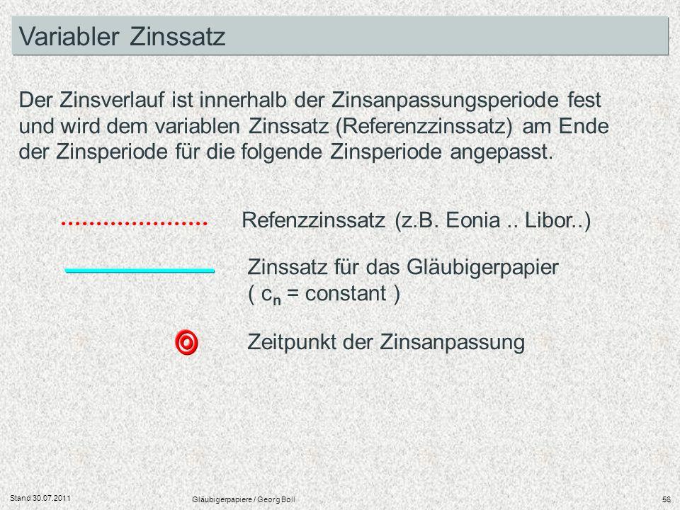Stand 30.07.2011 Gläubigerpapiere / Georg Boll56 Variabler Zinssatz Der Zinsverlauf ist innerhalb der Zinsanpassungsperiode fest und wird dem variable