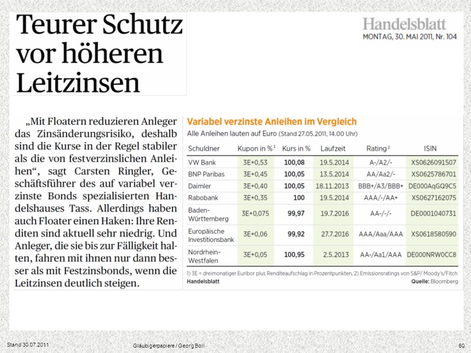 Stand 30.07.2011 Gläubigerpapiere / Georg Boll60