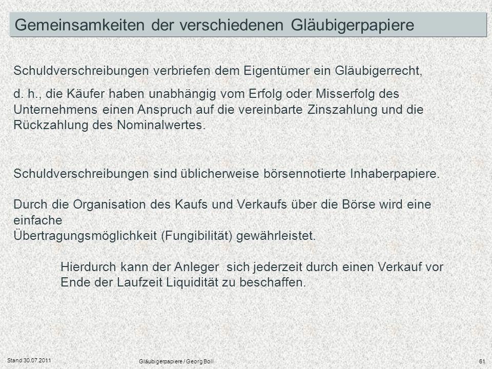 Stand 30.07.2011 Gläubigerpapiere / Georg Boll61 Gemeinsamkeiten der verschiedenen Gläubigerpapiere Schuldverschreibungen sind üblicherweise börsennot