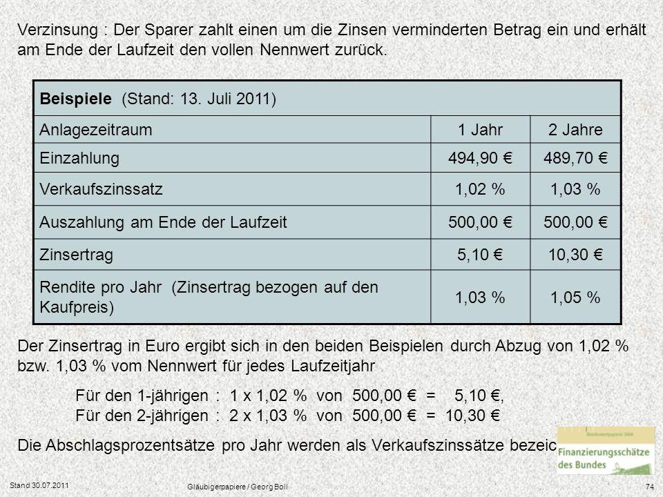 Stand 30.07.2011 Gläubigerpapiere / Georg Boll74 Der Zinsertrag in Euro ergibt sich in den beiden Beispielen durch Abzug von 1,02 % bzw. 1,03 % vom Ne