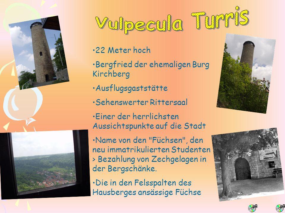 22 Meter hoch Bergfried der ehemaligen Burg Kirchberg Ausflugsgaststätte Sehenswerter Rittersaal Einer der herrlichsten Aussichtspunkte auf die Stadt