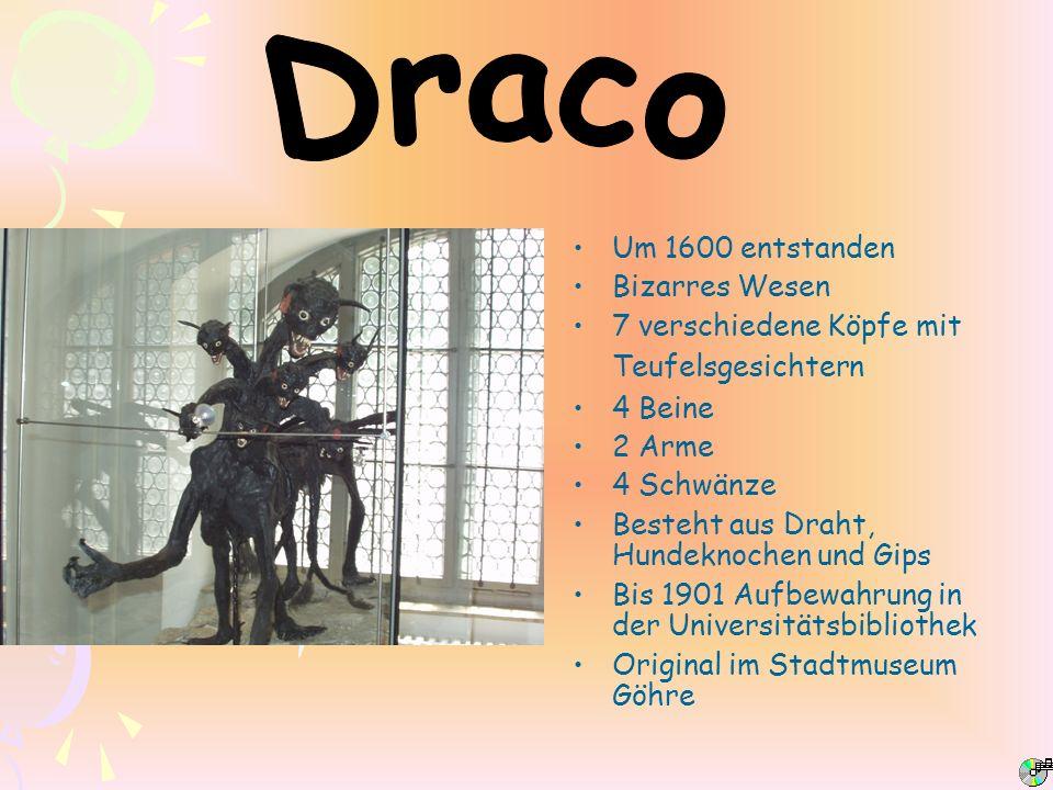 Um 1600 entstanden Bizarres Wesen 7 verschiedene Köpfe mit Teufelsgesichtern 4 Beine 2 Arme 4 Schwänze Besteht aus Draht, Hundeknochen und Gips Bis 19