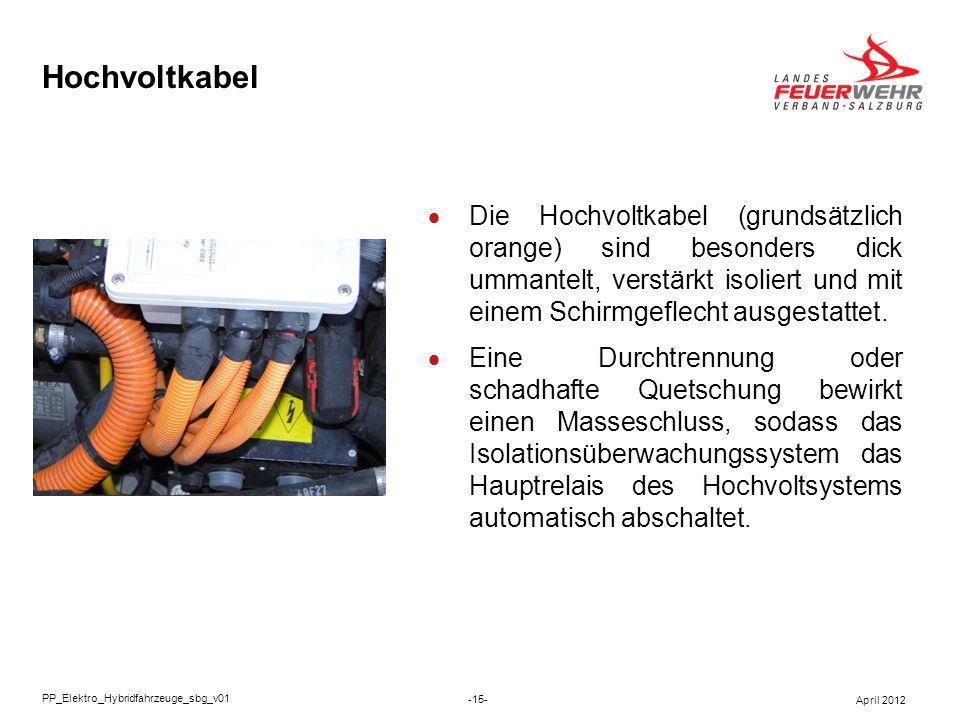 Hochvoltkabel Die Hochvoltkabel (grundsätzlich orange) sind besonders dick ummantelt, verstärkt isoliert und mit einem Schirmgeflecht ausgestattet. Ei