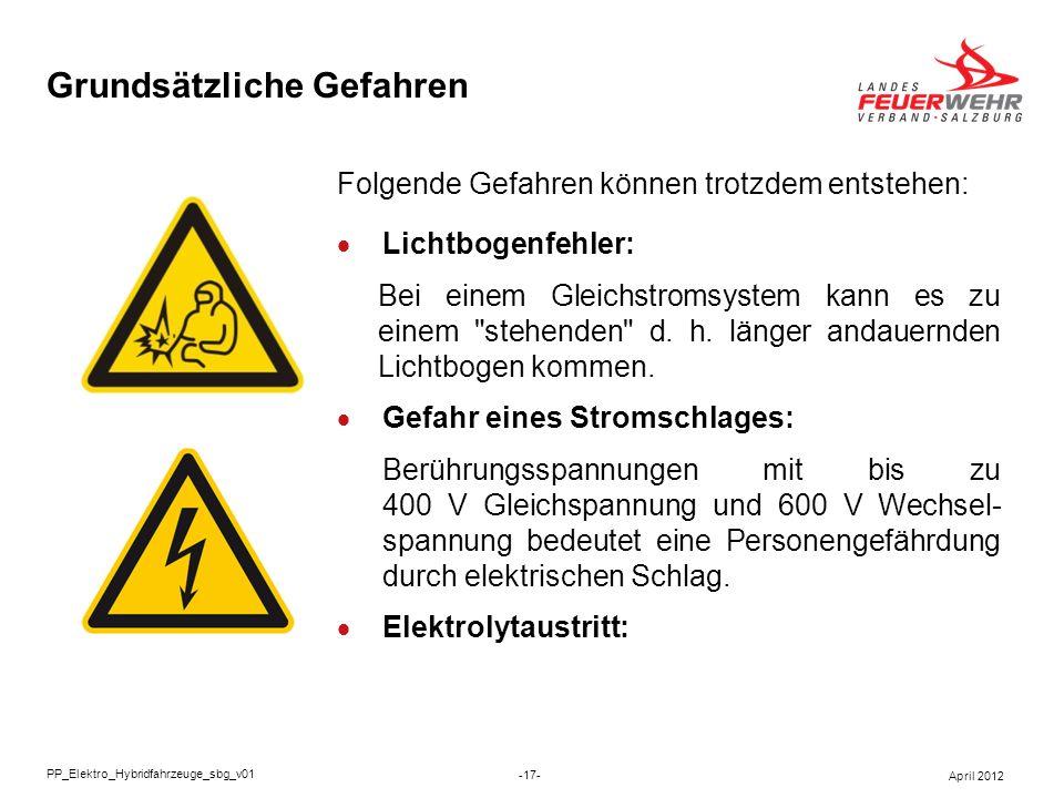 Grundsätzliche Gefahren Folgende Gefahren können trotzdem entstehen: Lichtbogenfehler: Bei einem Gleichstromsystem kann es zu einem