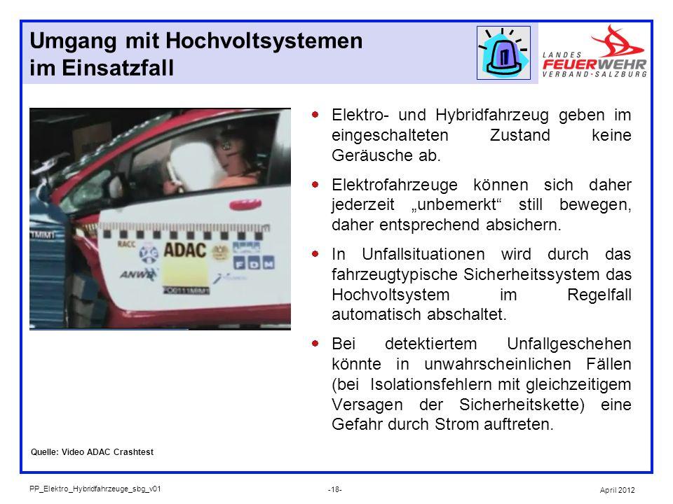 Umgang mit Hochvoltsystemen im Einsatzfall Elektro- und Hybridfahrzeug geben im eingeschalteten Zustand keine Geräusche ab. Elektrofahrzeuge können si