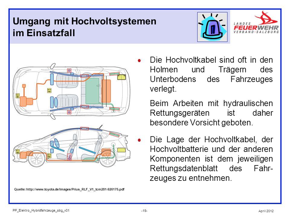 Die Hochvoltkabel sind oft in den Holmen und Trägern des Unterbodens des Fahrzeuges verlegt. Beim Arbeiten mit hydraulischen Rettungsgeräten ist daher