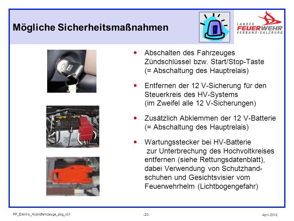 Abschalten des Fahrzeuges Zündschlüssel bzw. Start/Stop-Taste (= Abschaltung des Hauptrelais) Entfernen der 12 V-Sicherung für den Steuerkreis des HV-