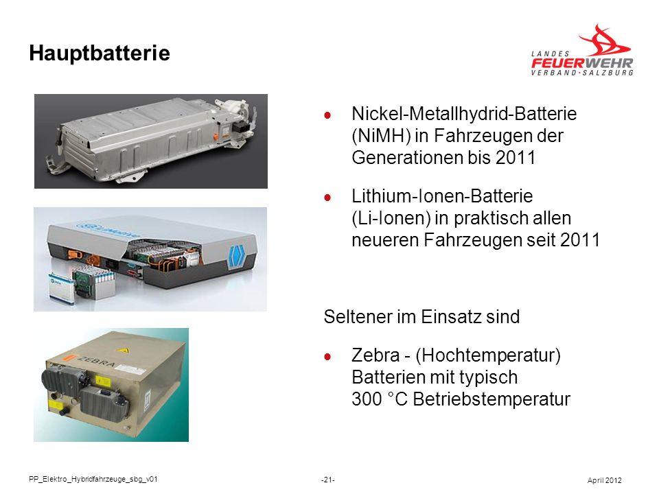 Hauptbatterie Nickel-Metallhydrid-Batterie (NiMH) in Fahrzeugen der Generationen bis 2011 Lithium-Ionen-Batterie (Li-Ionen) in praktisch allen neueren