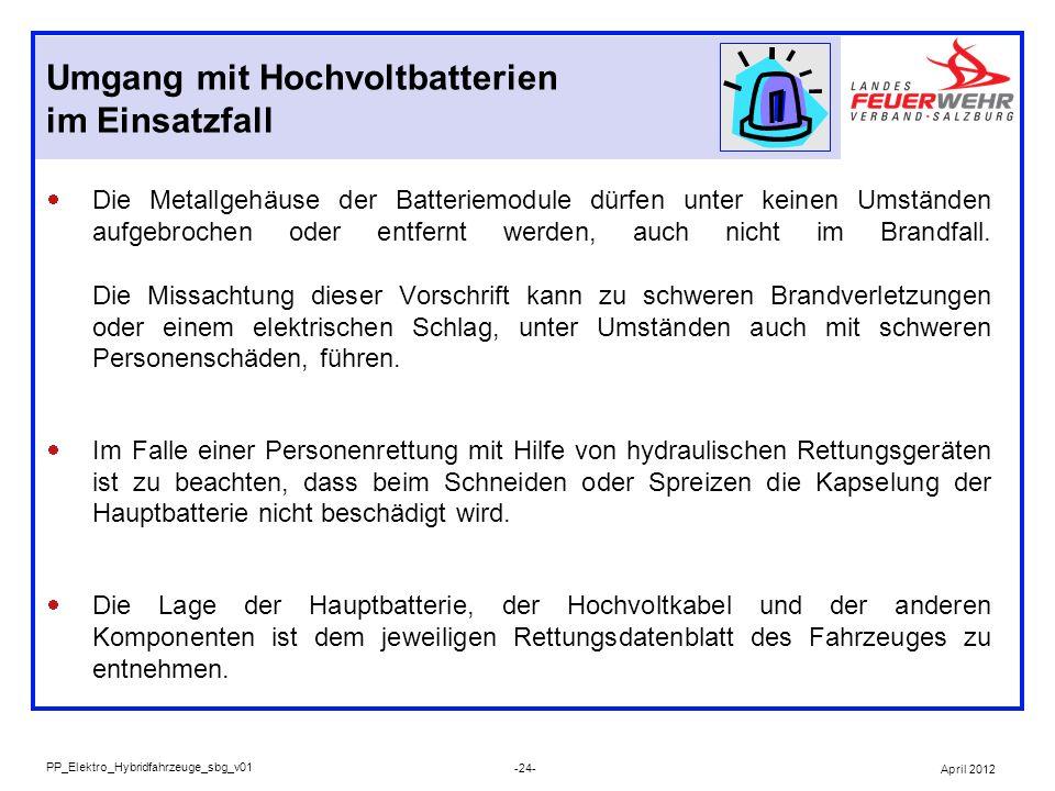 Die Metallgehäuse der Batteriemodule dürfen unter keinen Umständen aufgebrochen oder entfernt werden, auch nicht im Brandfall. Die Missachtung dieser