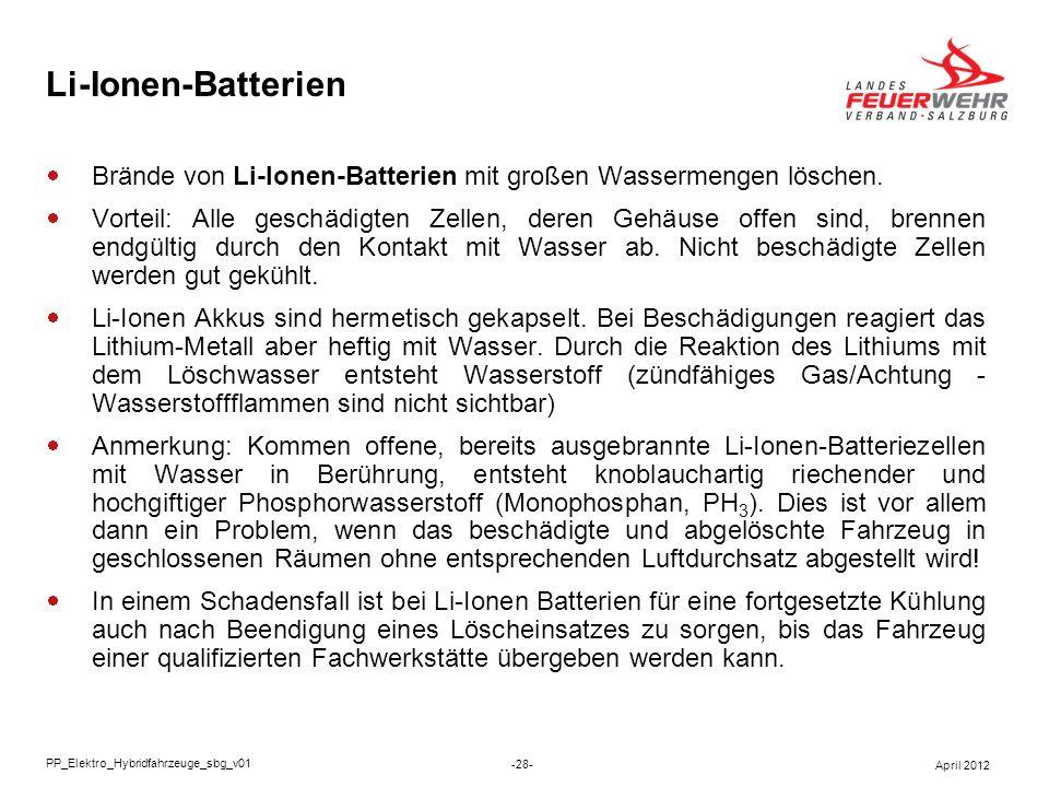 Li-Ionen-Batterien Brände von Li-Ionen-Batterien mit großen Wassermengen löschen. Vorteil: Alle geschädigten Zellen, deren Gehäuse offen sind, brennen