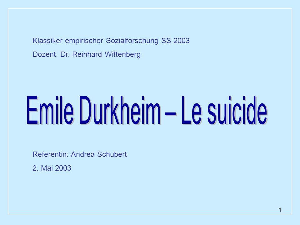 1 Referentin: Andrea Schubert 2. Mai 2003 Klassiker empirischer Sozialforschung SS 2003 Dozent: Dr. Reinhard Wittenberg