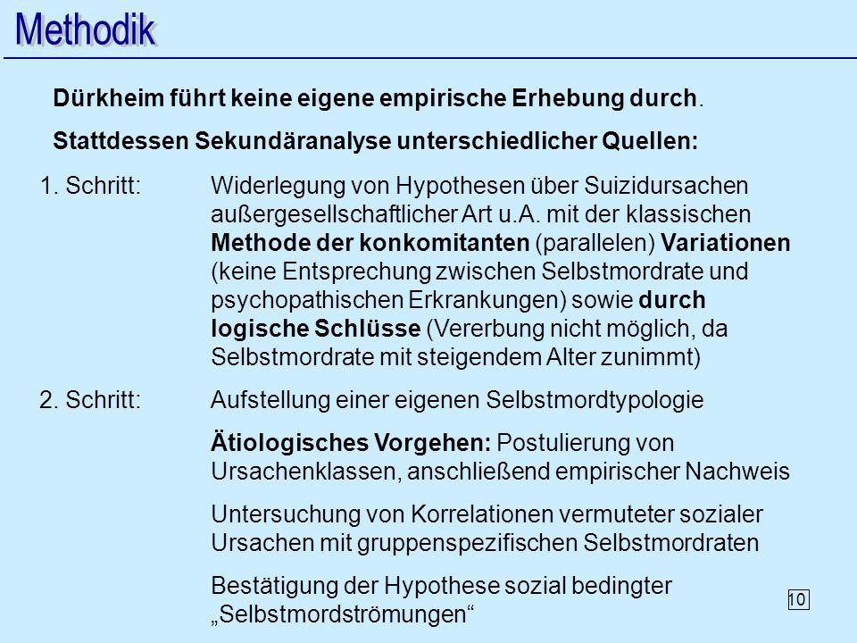 10 2. Schritt:Aufstellung einer eigenen Selbstmordtypologie Ätiologisches Vorgehen: Postulierung von Ursachenklassen, anschließend empirischer Nachwei