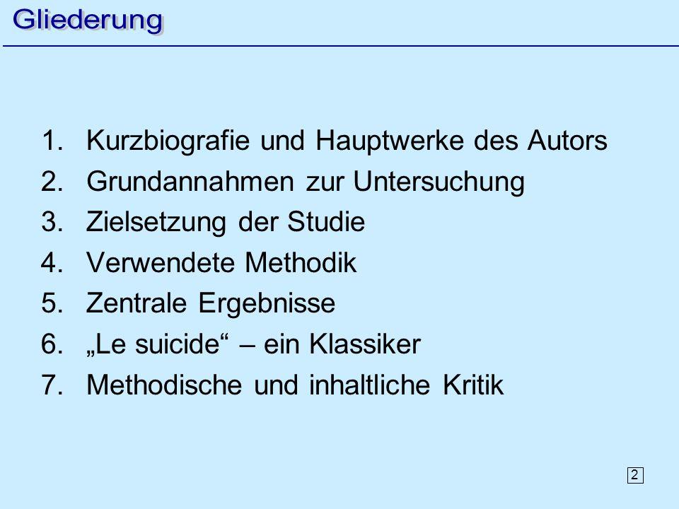 2 1.Kurzbiografie und Hauptwerke des Autors 2.Grundannahmen zur Untersuchung 3.Zielsetzung der Studie 4.Verwendete Methodik 5.Zentrale Ergebnisse 6.Le