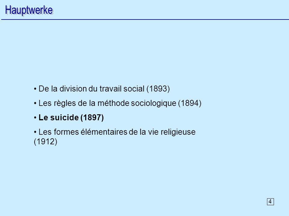 4 De la division du travail social (1893) Les règles de la méthode sociologique (1894) Le suicide (1897) Les formes élémentaires de la vie religieuse (1912)
