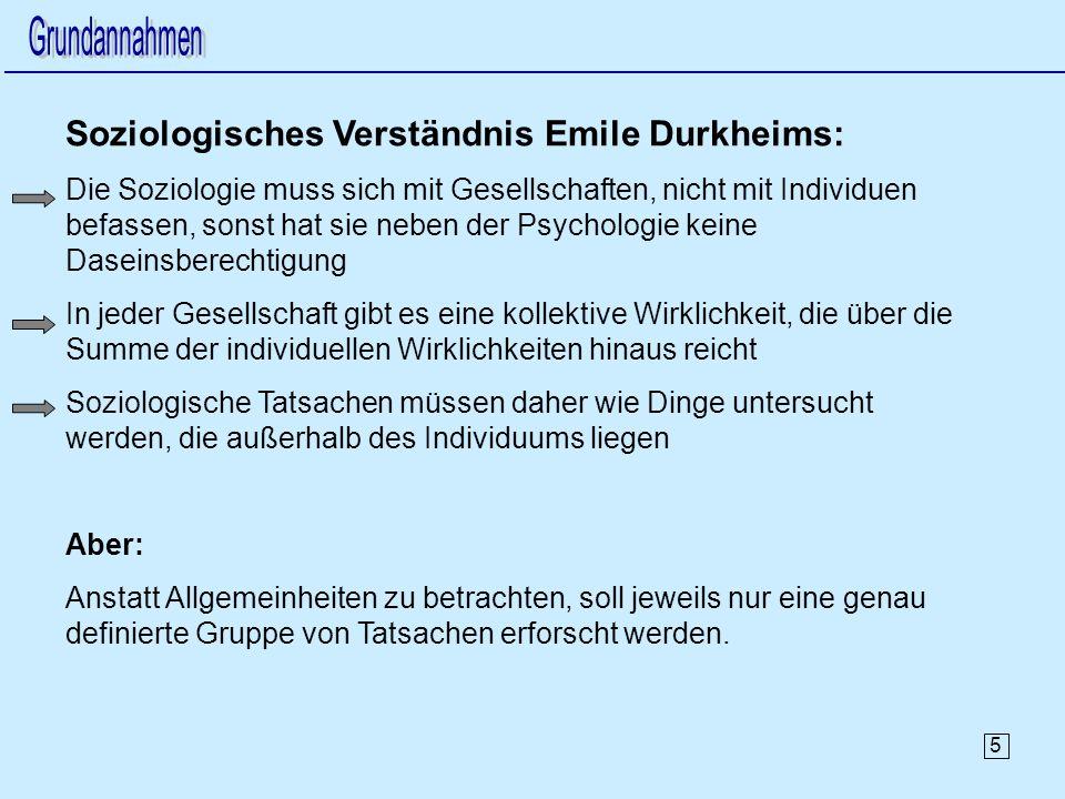 5 Soziologisches Verständnis Emile Durkheims: Die Soziologie muss sich mit Gesellschaften, nicht mit Individuen befassen, sonst hat sie neben der Psychologie keine Daseinsberechtigung In jeder Gesellschaft gibt es eine kollektive Wirklichkeit, die über die Summe der individuellen Wirklichkeiten hinaus reicht Soziologische Tatsachen müssen daher wie Dinge untersucht werden, die außerhalb des Individuums liegen Aber: Anstatt Allgemeinheiten zu betrachten, soll jeweils nur eine genau definierte Gruppe von Tatsachen erforscht werden.