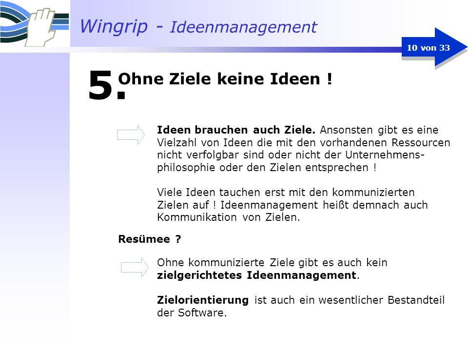 Wingrip - Ideenmanagement 10 von 33 5. Ideen brauchen auch Ziele. Ansonsten gibt es eine Vielzahl von Ideen die mit den vorhandenen Ressourcen nicht v
